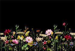 PANEL na šaty / triko/leginy –akvarelové květy na černé- varianty mavaga design