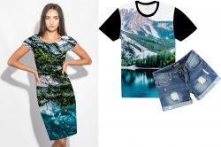 PANEL na šaty / triko/leginy –hory- varianty mavaga design
