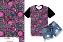Mandaly barevné do růžova-sublimační digitální tisk mavaga design