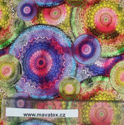 Teplákovina barevné mandaly-260 gsm vyrobeno v Turecku