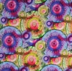 Teplákovina barevné mandaly-260 gsm