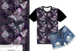 Motýlkové a šípky fialové na šedé-sublimační digitální tisk mavaga design