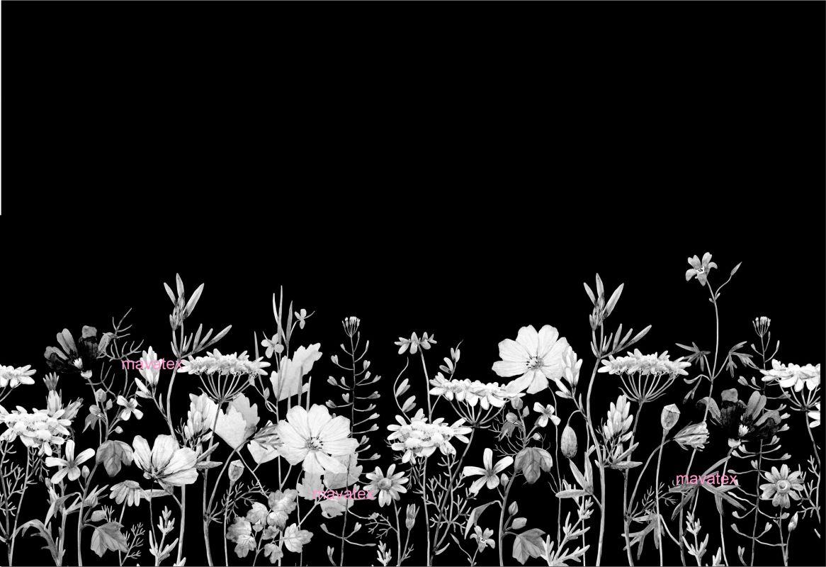 PANEL na šaty / triko/leginy –akvarelové květy černobílé- varianty mavaga design