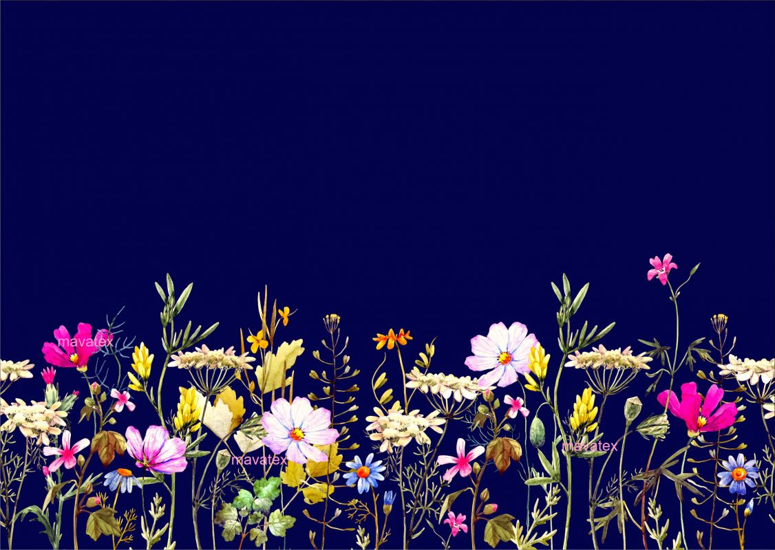 PANEL na šaty / triko/leginy –akvarelové květy na modré- varianty mavaga design
