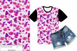 Růžový motýlkové s chrpami-sublimační digitální tisk mavaga design