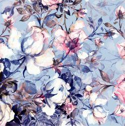 SILKY - růže malovano na modré -desén 436