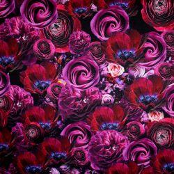 Teplákovina fialové květy - 260gsm