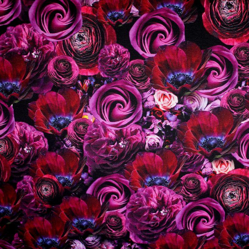Teplákovina fialové květy - 260gsm EU-úplety atest pro děti