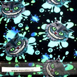 Teplákovina kočka ŠKLÍBA modro-zelená- 270 gsm EU-úplety atest pro děti