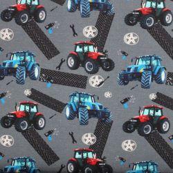 Teplákovina šedá s traktory- 280 gsm