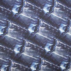 Teplákovina jeans modrá s dírami – digitální tisk