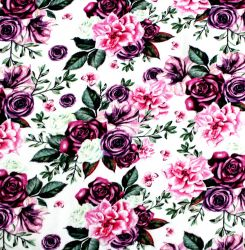 Jednolícní úplet fialovo-růžové květy  - 180 gsm