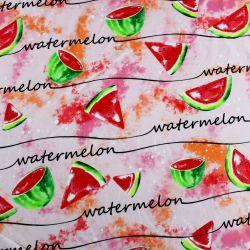 Jednolícní úplet s melouny na růžové -210 gsm