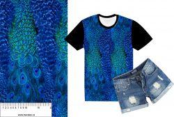 Paví peří do modra -sublimační digitální tisk mavaga design