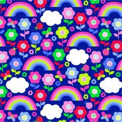 Jednolícní úplet barevné omalovánkové květy -210 gsm EU-úplety atest pro děti