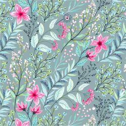 Jednolícní úplet akvarelové květy na mentolce -210 gsm EU-úplety atest pro děti