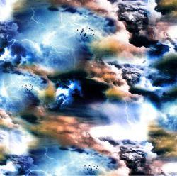 Jednolícní úplet modré bouřkové nebe -210 gsm