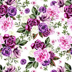 Fialové květy-sublimační digitální tisk | SILKY, DOLOMITY, Funkční úplet TORINO 140 gsm, GARZATO 200gsm- funkční úplet počesaný, Kočárkovina , LYCRA 200, Micropeach, Softshell jarní 285 gsm, Softshell letní pružný 220gsm, Softshell zimní 320 gsm