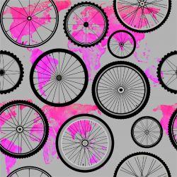 Kola s růžovou mapou -sublimační digitální tisk   DOLOMITY, Funkční úplet TORINO 140 gsm, GARZATO 200gsm- funkční úplet počesaný, Kočárkovina , LYCRA 200, Micropeach, Softshell jarní 285 gsm, Softshell letní pružný 220gsm, Softshell zimní 320 gsm