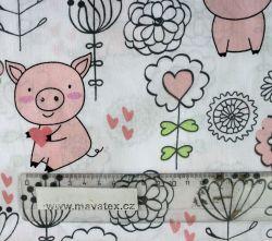 Bavlna s prasátky vyrobeno v EU- atest pro děti bavlna