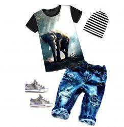 PANEL na triko –slon+žirafa- varianty -DĚTSKÉ mavaga design