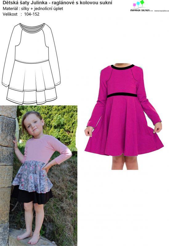 Papírový střih - šaty JULINKA- raglánové s kolovkou Mavatex