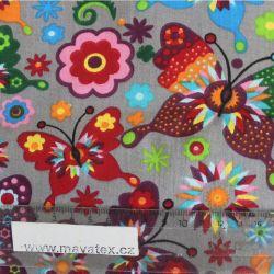 Šedá bavlna s barevnými motýlky vyrobeno v EU- atest pro děti bavlna