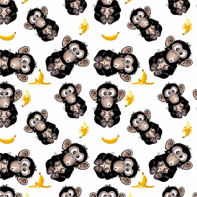 Vykluná opice na bílé -sublimační digitální tisk mavaga design