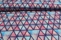 Jednolícní úplet fialovo-modré mandaly v trojúhelníku- 180 gsm EU-úplety atest pro děti