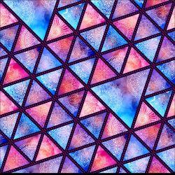 Jednolícní úplet fialovo-modré mandaly v trojúhelníku- 180 gsm
