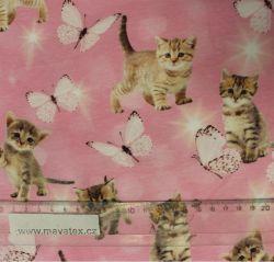 Jednolícní úplet hnědá koťátka na růžové s motýlky-220 gsm EU-úplety atest pro děti