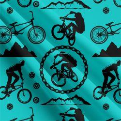 Cyklistika tyrkysová-sublimační digitální tisk | Funkční úplet TORINO 140 gsm, GARZATO 200gsm- funkční úplet počesaný, Kočárkovina , LYCRA 200, Micropeach, Softshell jarní 285 gsm, Softshell letní pružný 220gsm, Softshell zimní 320 gsm