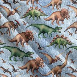 Dinosaurové modrý denim-sublimační digitální tisk | Funkční úplet TORINO 140 gsm, GARZATO 200gsm- funkční úplet počesaný, Kočárkovina , LYCRA 200, Micropeach, Softshell jarní 285 gsm, Softshell letní pružný 220gsm, Softshell zimní 320 gsm