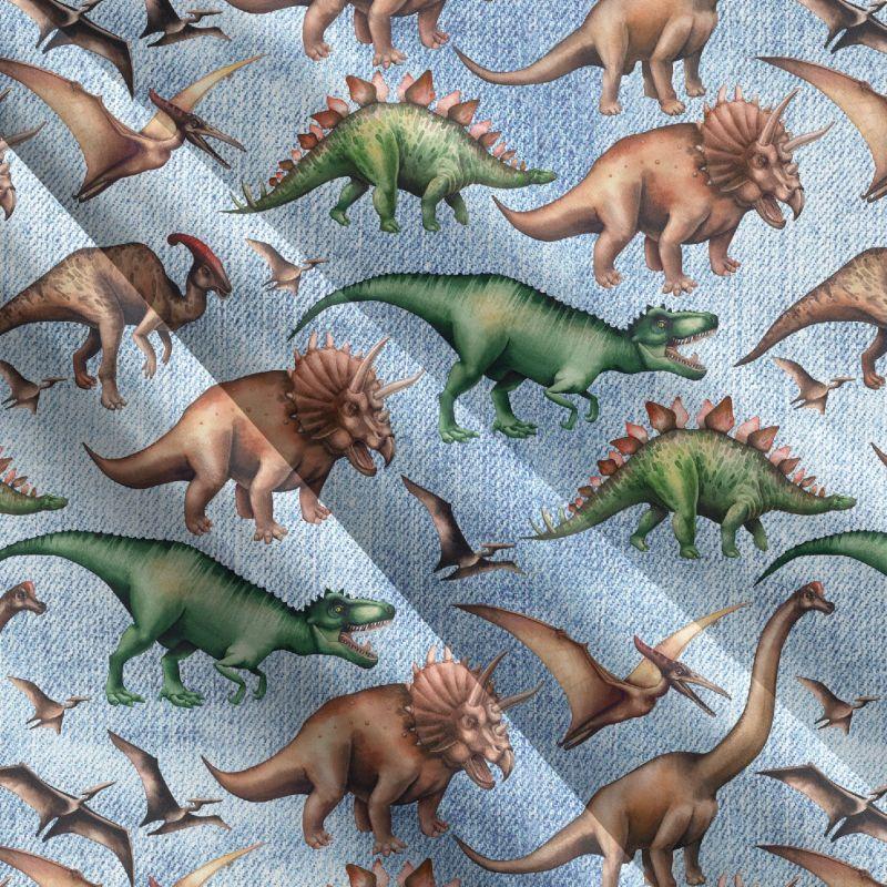 Dinosaurové modrý denim-sublimační digitální tisk mavaga design
