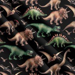 Dinosaurové na černé-sublimační digitální tisk | Funkční úplet TORINO 140 gsm, GARZATO 200gsm- funkční úplet počesaný, Kočárkovina , LYCRA 200, Micropeach, Softshell jarní 285 gsm, Softshell letní pružný 220gsm, Softshell zimní 320 gsm