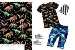 Dinosaurové na černé-sublimační digitální tisk mavaga design