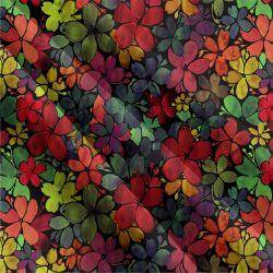 Jednolícní úplet akvarelové kvítky hnědé -180 gsm