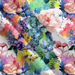 Jednolícní úplet barevné akvarelové květy -190 gsm