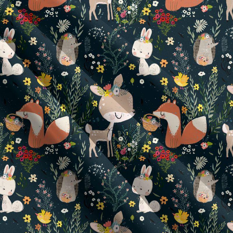 Roztomilá lesní zvířátka na tmavé-sublimační digitální tisk mavaga design