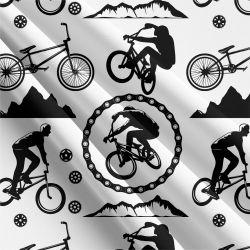 Cyklistika bílo-černá -sublimační digitální tisk | Funkční úplet TORINO 140 gsm, GARZATO 200gsm- funkční úplet počesaný, Kočárkovina , LYCRA 200, Micropeach, Softshell jarní 285 gsm, Softshell letní pružný 220gsm, Softshell zimní 320 gsm