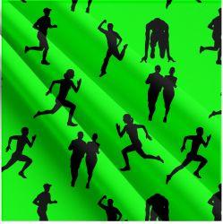 Běh FLUO zelená -sublimační digitální tisk | Funkční úplet TORINO 140 gsm, GARZATO 200gsm- funkční úplet počesaný, Kočárkovina , LYCRA 200, Micropeach, Softshell jarní 285 gsm, Softshell letní pružný 220gsm, Softshell zimní 320 gsm