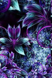 Fialové fraktální květy-sublimační digitální tisk | Funkční úplet TORINO 140 gsm, GARZATO 200gsm- funkční úplet počesaný, Kočárkovina , LYCRA 200, Micropeach, Softshell jarní 285 gsm, Softshell letní pružný 220gsm, Softshell zimní 320 gsm, DOLOMITY