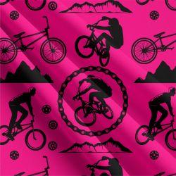 Cyklistika malinová-sublimační digitální tisk | Funkční úplet TORINO 140 gsm, GARZATO 200gsm- funkční úplet počesaný, Kočárkovina , LYCRA 200, Micropeach, Softshell jarní 285 gsm, Softshell letní pružný 220gsm, Softshell zimní 320 gsm