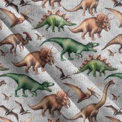 Dinosaurové šedý denim-sublimační digitální tisk | Funkční úplet TORINO 140 gsm, GARZATO 200gsm- funkční úplet počesaný, Kočárkovina , LYCRA 200, Micropeach, Softshell jarní 285 gsm, Softshell letní pružný 220gsm, Softshell zimní 320 gsm