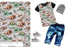 Dinosaurové šedý denim-sublimační digitální tisk mavaga design