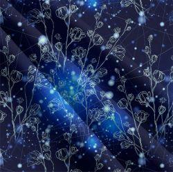 Bílé kvítky na modré-sublimační digitální tisk | Funkční úplet TORINO 140 gsm, GARZATO 200gsm- funkční úplet počesaný, Kočárkovina , LYCRA 200, Micropeach, Softshell jarní 285 gsm, Softshell letní pružný 220gsm, Softshell zimní 320 gsm