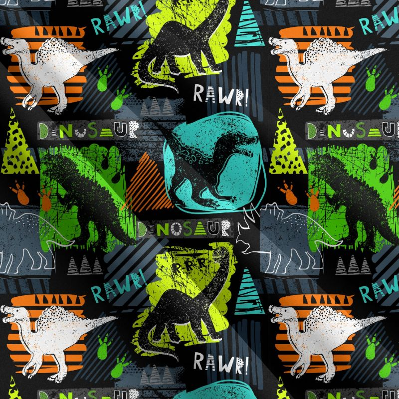 Barevní dinosauři -sublimační digitální tisk mavaga design