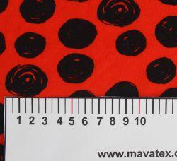 Jednolícní úplet červený s atyp puntíky -180 gsm EU-úplety atest pro děti