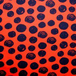 Jednolícní úplet červený s atyp puntíky -180 gsm