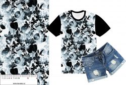 Černo-bílé podkreslené květy-sublimační digitální tisk mavaga design